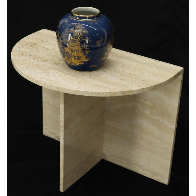 Mid 20th Century Demilune Travertine Half Round Console Table For Sale - Image 5 of 12