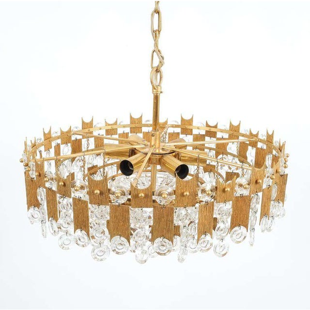 """Mid-Century Modern Delicate 20"""" Palwa Glass and Brass Chandelier, Lamp 1960 For Sale - Image 3 of 8"""