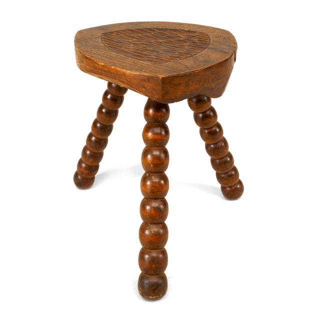 Turn-Of-The-Century English Renaissance Style Walnut Stool For Sale - Image 4 of 4