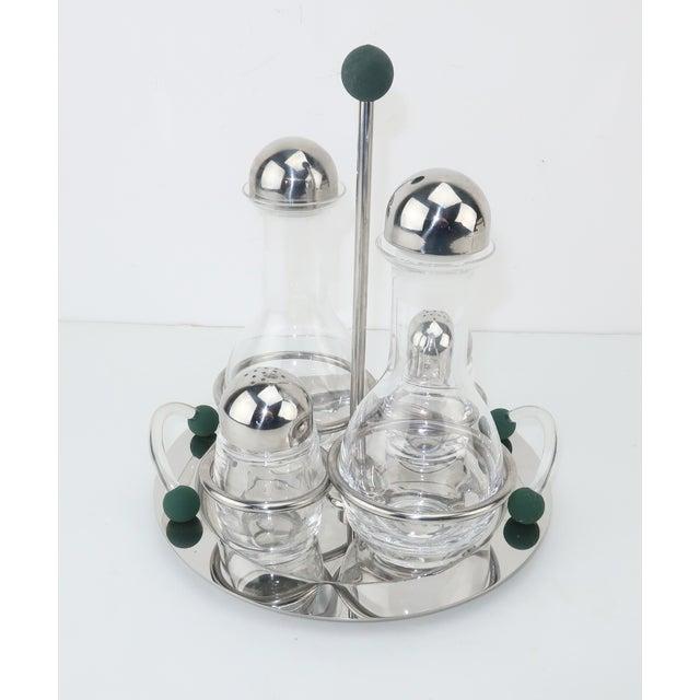 Art Deco Mepra Italian Stainless Steel & Glass Postmodern Cruet Set For Sale - Image 3 of 11