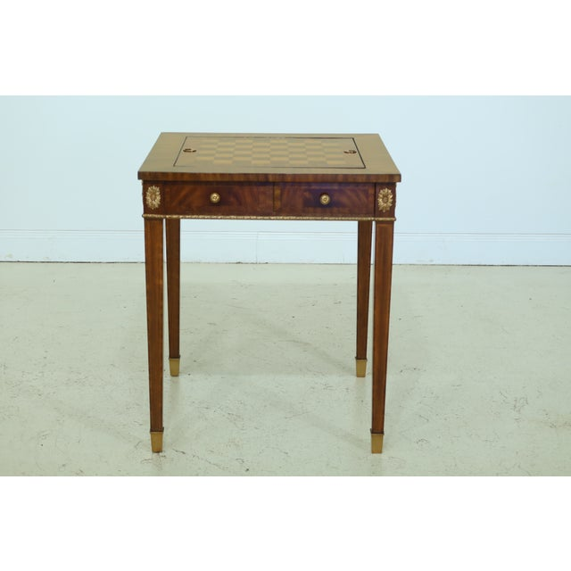 Maitland Smith Square Mahogany Games Table W. Reversible Top For Sale - Image 12 of 12