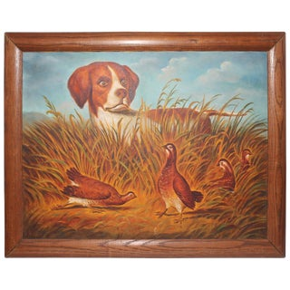 """""""The Hunter"""" Unsigned 20th Century Folk Art Oil Painting For Sale"""
