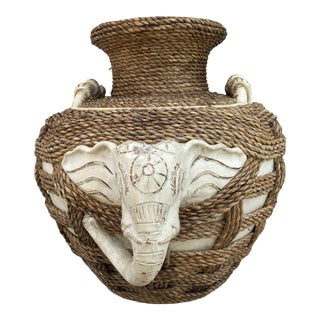 Vintage Mid-Century Indian Terra-Cotta & Rope Elephant Jar For Sale