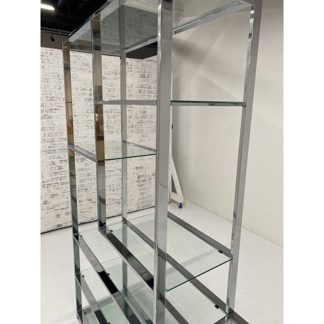 1970s Milo Baughman Style Chrome Etagere For Sale - Image 11 of 13