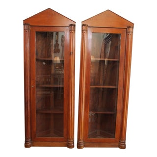 Pair of 19th Century Neoclassical Corner Cabinets For Sale