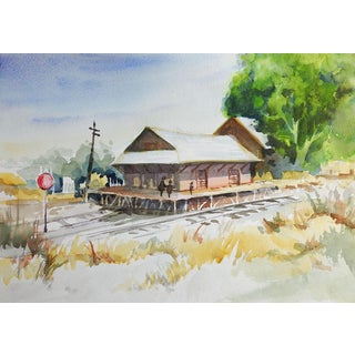 Old Railroad Depot Watercolor Painting For Sale