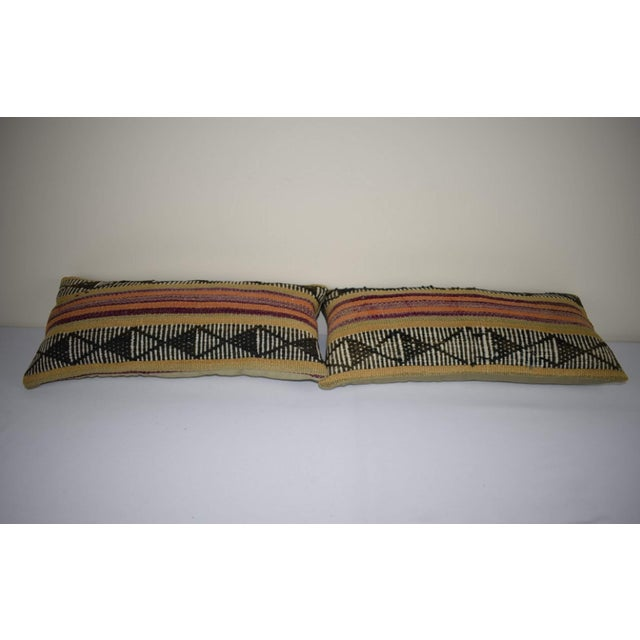 Pair Anatolian Wool Cushion Cover From Anatolian, Ethnic Turkish Decor, Lumbar Kilim Pillow Cover 12'' X 24'' (30 X 60 Cm) For Sale - Image 4 of 6