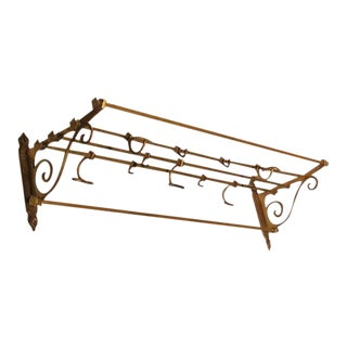 Antique Coat & Hat Brass Wall Rack
