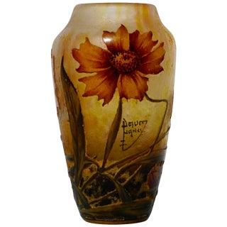 Daum Nancy Cameo Enameled Art Nouveau Vase For Sale