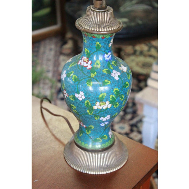 Blue Mid 19th Century Cloisonne Lamp For Sale - Image 8 of 9