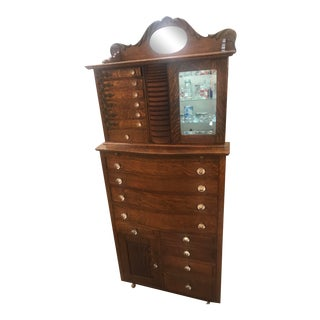 Oak Ornate Ransom & Randolph Co Dental Dentist Cabinet For Sale