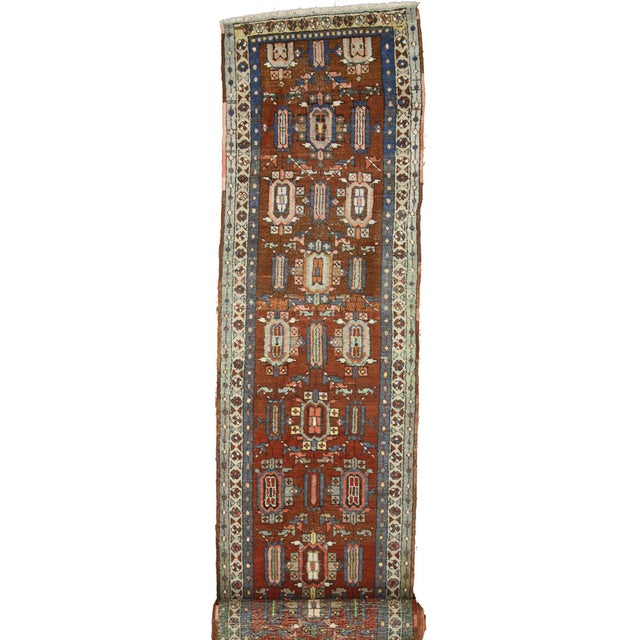 1900 - 1909 Distressed Antique Persian Heriz Runner - 02'05 X 17'03 For Sale - Image 5 of 9