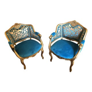 Victorian Style Carved Chairs Newly Upholstered - Pair For Sale