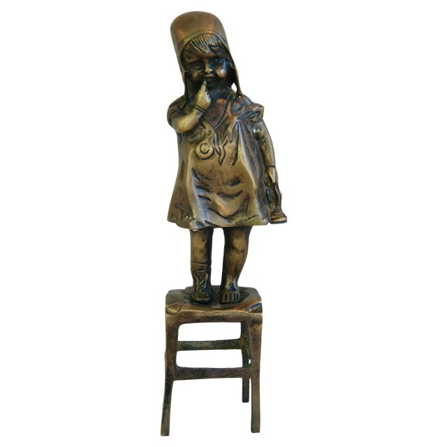Vintage Juan Clara Style Bronze Girl on Chair For Sale