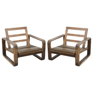 Vintage Teak and Reclaimed Wood Chairs, 1950s, USA For Sale