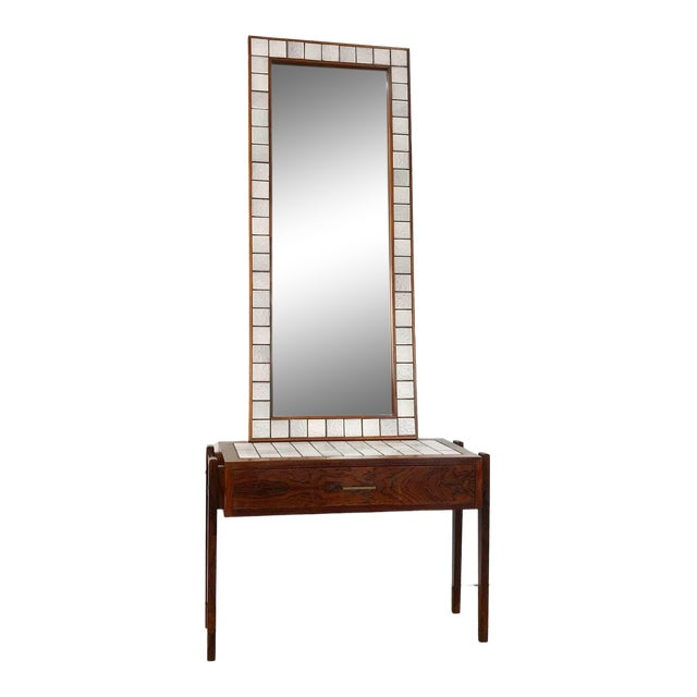 Danish Rosewood & Tile Vanity For Sale