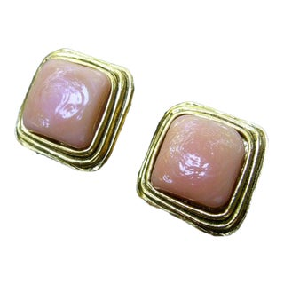 Chanel Paris Peach Color Poured Glass Clip on Earrings For Sale