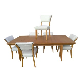 1950s Vintage Mid-Century Paul Laszlo for Brown Saltman Dining Table & Chairs - Set of 10 For Sale