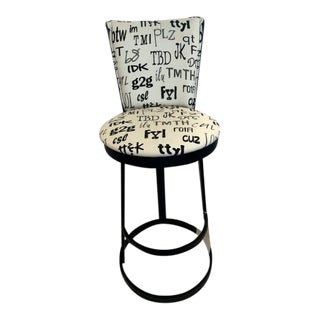 Contemporary Word Print Beige and Black Swivel Counter Stool For Sale