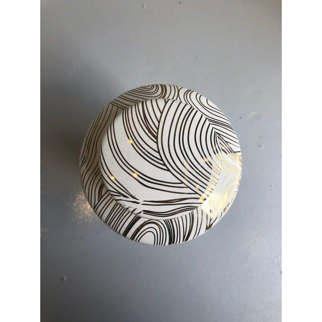 Modern Modern Tozai Home Large Geometric Gold Ceramic Tea Jar For Sale - Image 3 of 5