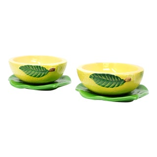 Vintage Lemon and Leaf Bowls by Pandora Products - a Pair