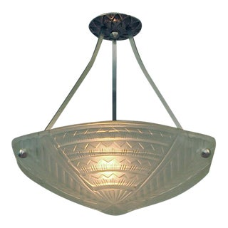 1920s Three-Sided French Art Deco Geometric Brushed Nickel Hardware Lighting Bowl by Noverdy For Sale