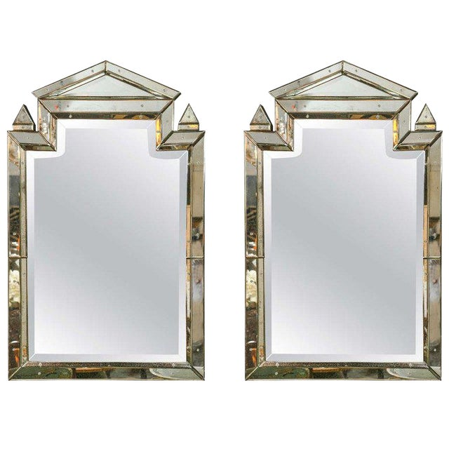 1990s Piedmont Hollywood Regency Style Distressed Antiqued Venetian Mirrors - a Pair For Sale