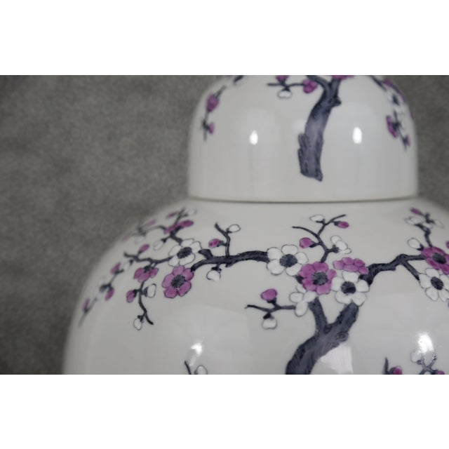 Light Gray Ceramic Ginger Jar with Lid - Image 5 of 11