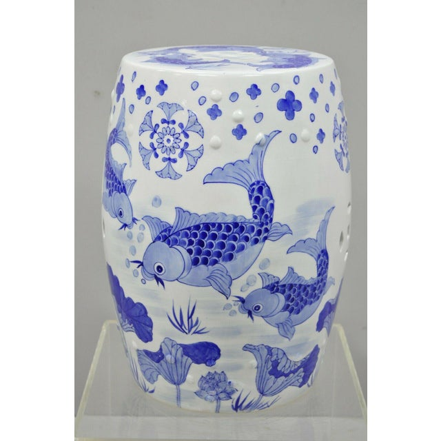 Blue & White Koi Fish Porcelain Chinese Garden Stool For Sale - Image 11 of 12