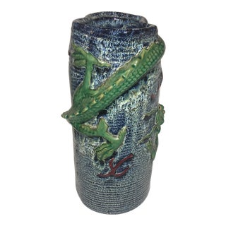 Tall Glazed Ceramic Dragon Vase
