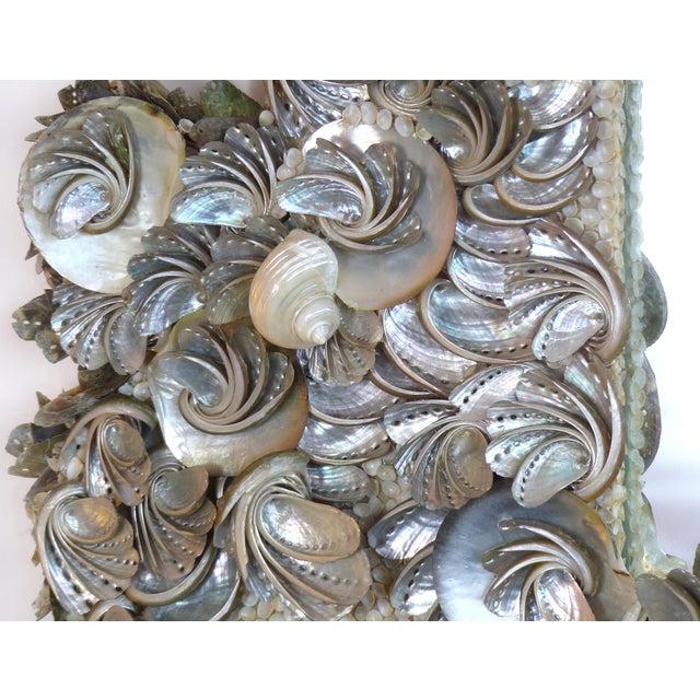 Palm Beach Chic Mother-Of-Pearl Shell Encrusted Mirror For Sale - Image 12 of 13