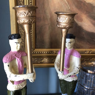 Vintage Handpainted Pink Asian Cast Iron Candleholders - a Pair Preview