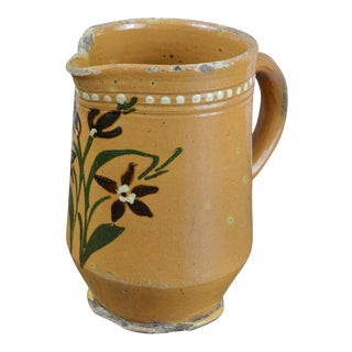 French Hand Painted Terra Cotta Pitcher With Red Lily Design