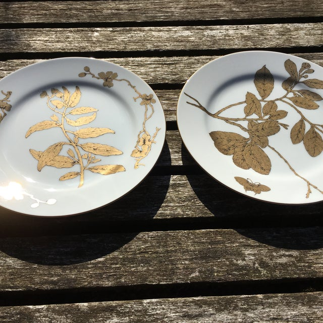 Vintage Gold and White Porcelain Plates - Pair - Image 6 of 7