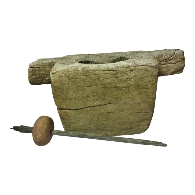 Antique Relic and Artifact Ceylonese Mortar and Stone Pestle For Sale