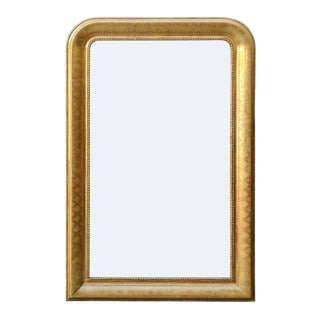 French Giltwood Louis-Philippe Style Mirror with X-Shaped Motifs, circa 1890