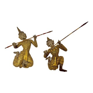 Thai Figures of Siamese Dancers Sculpture Wood With Gold - a Pair For Sale