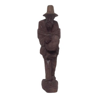 Vintage Tyrolean Hand Carved Wood Figure of a Man From Italy For Sale