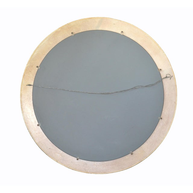 Mid-Century Modern Round Handmade White Washed Pencil Reed Wall Mirror For Sale - Image 11 of 13