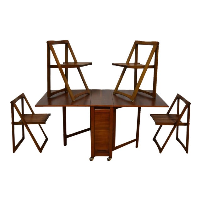 Walnut Dining Table and Self Storing Chairs - Set of 5 For Sale