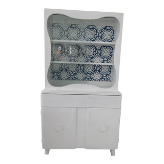 Mid-Century China Cabinet Refinished in White For Sale