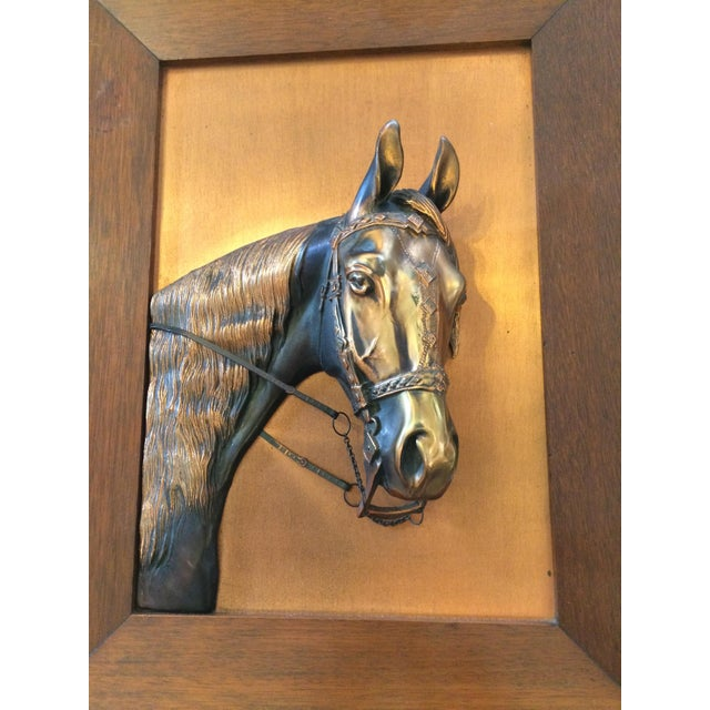 Vintage Framed Copper Equestrian Horse Head in Relief For Sale - Image 5 of 10