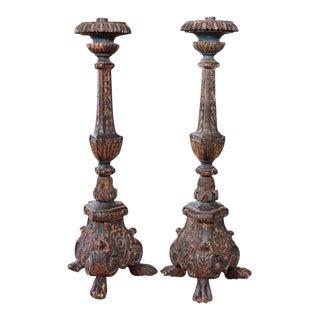 19th Century Italian Altar Stick Lamps - Pair For Sale