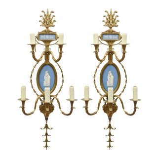 Pair of Cast Brass Wedgewood Sconces For Sale