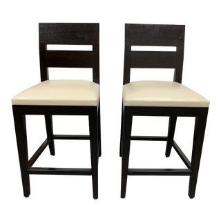 """Christian Liagre for Holly Hunt """"Archipel"""" Leather Bar Stools, a Pair For Sale"""