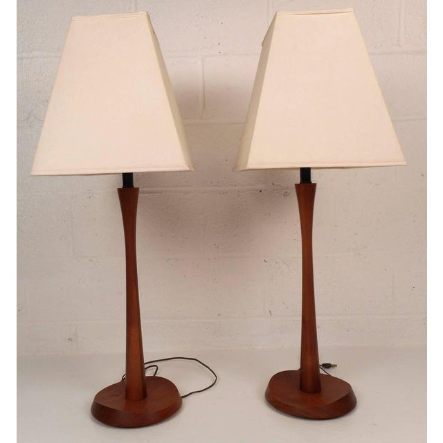 Mid-Century Modern Teak Table Lamps - A Pair - Image 3 of 6