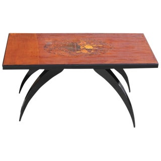 1930s French Art Deco Mother-Of-Pearl & Mahogany Accent Table For Sale