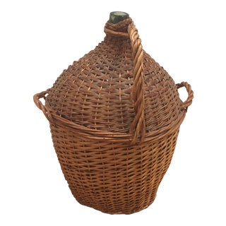 Vintage Wicker Wrapped Glass Demijohn Jug With Handles For Sale