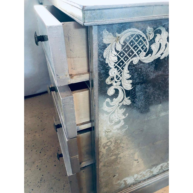 Brass Art Deco Era Mirrored Reversed Paint Decorated Églomisé Desk or Vanity For Sale - Image 7 of 13