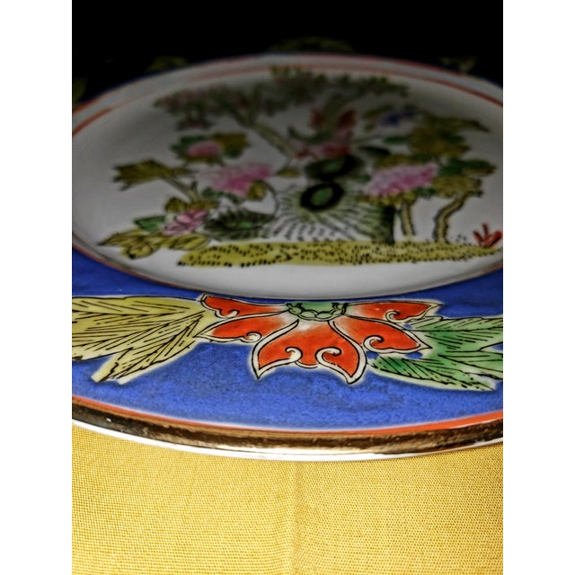 Blue 1880s Antique Qing Dynasty Tongzhi Porcelain Plate For Sale - Image 8 of 11